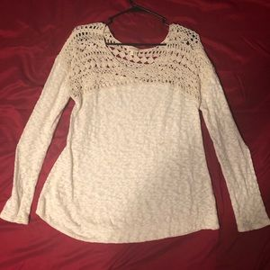 Anthropology Cream Colored Lace Top Sweater!
